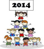 2014 calendar new year happy children