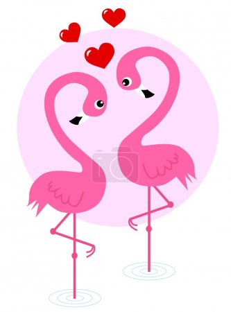 Two pink flamingo birds in love