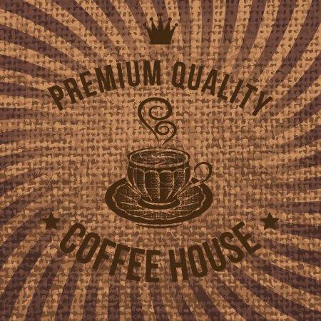 étiquette de vecteur pour le café sur la toile de sac