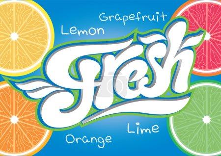 Illustration pour Inscription calligraphique vectorielle pour l'eau de fin de jus frais - image libre de droit