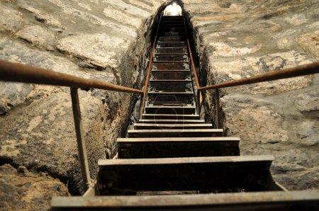 Steep staircase from prison monastery Khor Virap