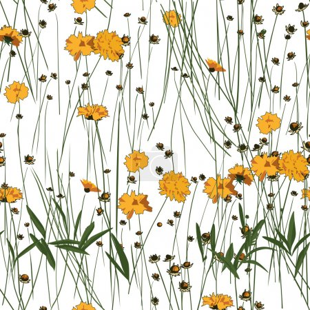 Illustration for Meadow Flowers Seamless Pattern - Royalty Free Image