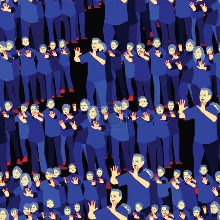 Illustration pour Aînés actifs pratiquant le Tai Chi, Swatch - image libre de droit