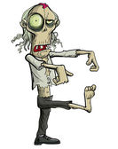 Green cartoon businessman zombie