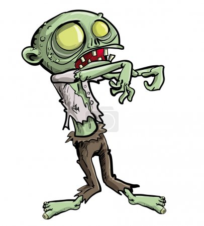 Illustration for Cartoon illustration of a ghoulish undead green zombie in tattered clothing with a skull-like face and cavernous glowing eyes for your Halloween feast, isolated on white - Royalty Free Image