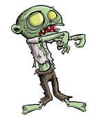 Cartoon illustration of a ghoulish undead green zombie in tattered clothing with a skull-like face and cavernous glowing eyes for your Halloween feast isolated on white