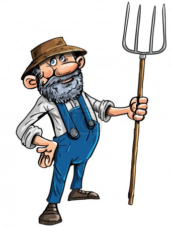 Cartoon farmer with a pitchfork