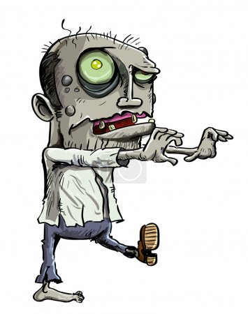 Illustration for Cartoon illustration of a ghoulish undead green zombie in tattered clothing with a skull-like face and cavernous glowing eye , isolated on white - Royalty Free Image