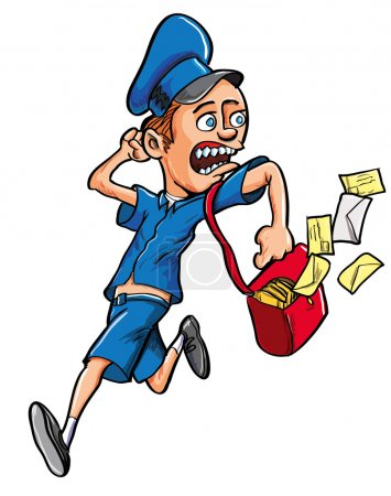 Cartoon postman running