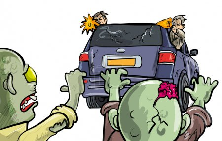 Illustration for Two undead zombies pusuing a car during the Apocalypse intent on destruction with two men leaning out of the windows firing handguns at them as they stay on the move to survive - Royalty Free Image