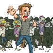 Large crowd of ghoulish undead zombies pursue a ru...