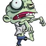 Cartoon illustration of a ghoulish undid green zom...