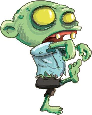 Cartoon illustration of cute green zombie