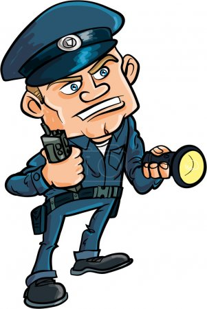 Illustration for Cartoon security guard with flashlight. Isolated on white - Royalty Free Image