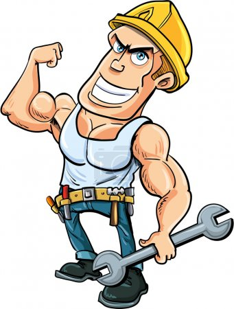 Illustration for Cartoon handyman flexing his muscles, he holds a wrench.Isolated - Royalty Free Image