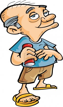 Cute cartoon old man drinking