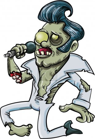 Cartoon singing zombie Elvis