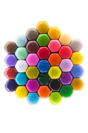 Vivid hexagonal pattern in rainbow colours