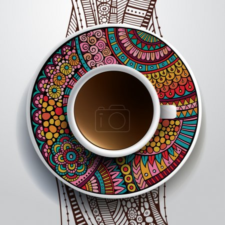 Cup of coffee and hand drawn ornament on a saucer