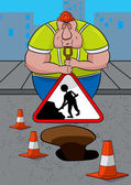 Road worker asleep leaning on his shovel and Men At Work sign