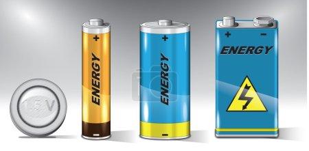Illustration pour Jeu détaillé de vecteurs de différents types de batteries . - image libre de droit