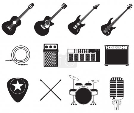 Rock music instruments set