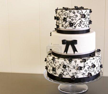 Wedding cake decorated with fondant