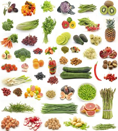 Photo for Collage of fresh fruits and vegetables vertical - Royalty Free Image