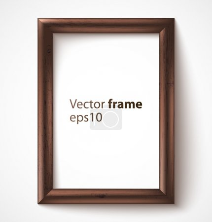 Illustration for Wooden rectangular 3d photo frame with shadow. Vector illustration - Royalty Free Image