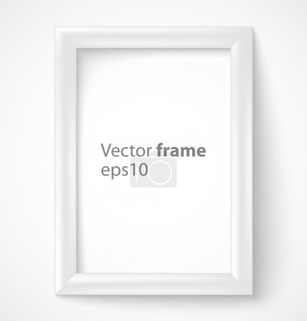 White rectangular 3d photo frame with shadow