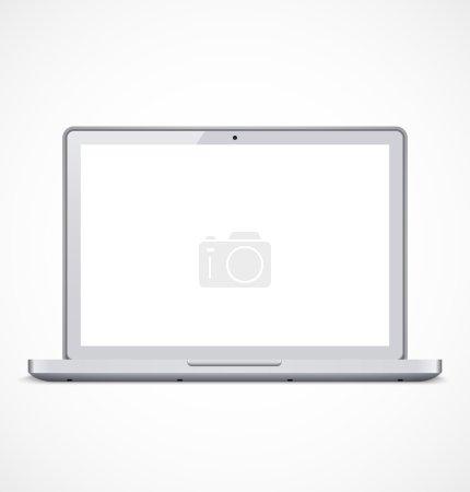Illustration pour Ordinateur portable blanc avec écran blanc. Illustration vectorielle - image libre de droit