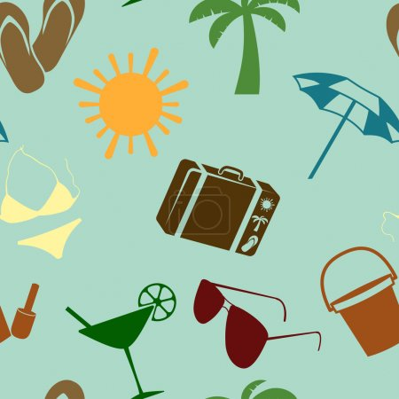 Illustration for Summer and beach seamless pattern. Vector illustration - Royalty Free Image