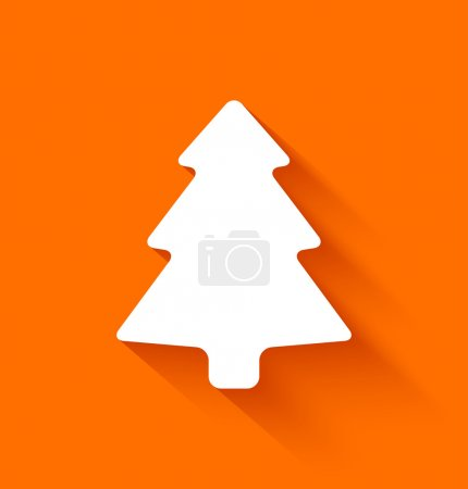Abstract christmas tree on orange background