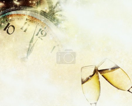 Vintage background with champagne glasses and cloc...