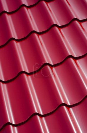 Pattern of red roof tiles