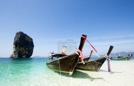 Photo for Adaman sea and wooden boat in Thailand. Tourism background with sea beach - Royalty Free Image