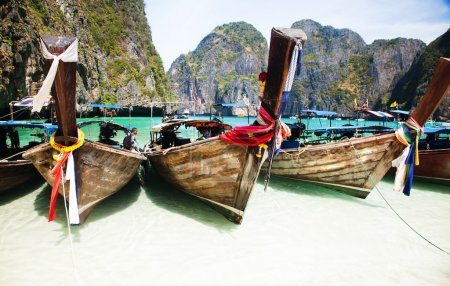 Photo for Thailand ocean landscape. Exotic beach view and traditional ships in Maya Bay, Ko Phi Phi Don - Royalty Free Image