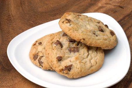 Photo for Milk chocolate macadamia, Chocolate chunk crispy cookies. - Royalty Free Image