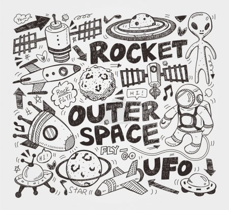 Illustration for Doodle space element - Royalty Free Image