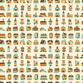 Seamless retro house pattern