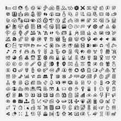 100 doodle web ikony nastavit