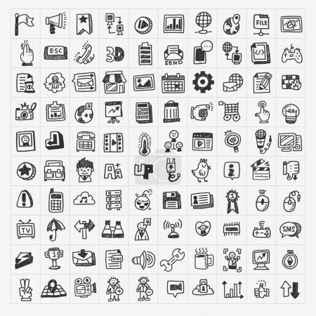 Illustration for 100 doodle web icons set - Royalty Free Image