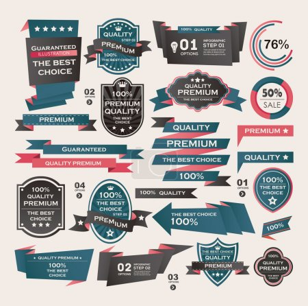 Illustration for Set Of Vintage labels ribbon , retro style . design elements. - Royalty Free Image