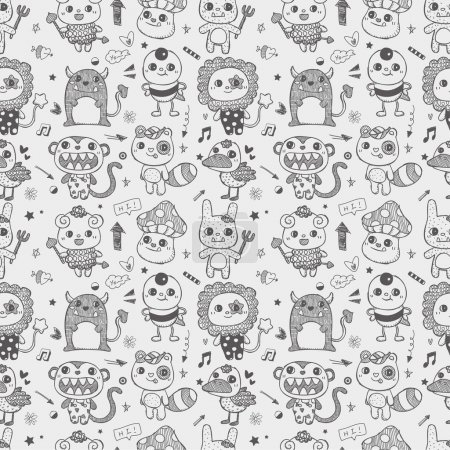 Illustration for Seamless cute doodle monster pattern background - Royalty Free Image