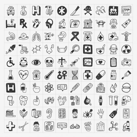100 doodle Medical icons set
