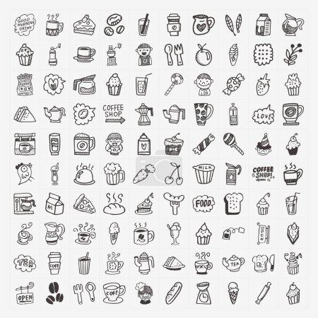 Illustration pour Ensemble d'icônes élément café 100 doodle - image libre de droit