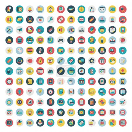 Illustration for Set of vector network and social media icons. Flat icon - Royalty Free Image