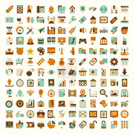 Illustration for Retro flat network icon set - Royalty Free Image