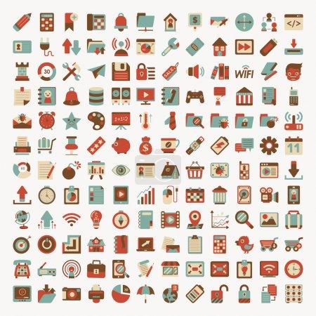 Foto de Red plana conjunto de iconos retro - Imagen libre de derechos