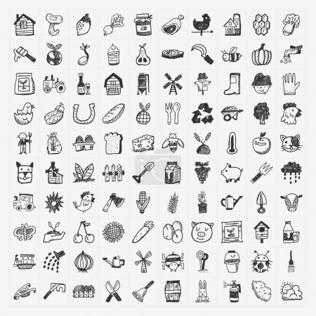 Illustration for Doodle farming icon set - Royalty Free Image